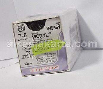 7-0 COATED VICRYL Suture W9561 Violet 30cm Double Armed TG140-8 Micro Point